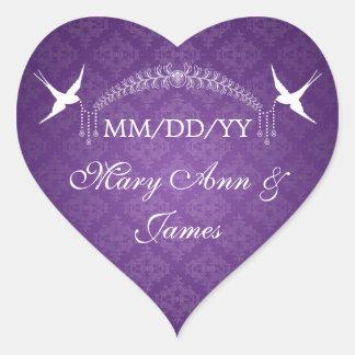 Wedding Save The Date Birds & Diamonds Purple Heart Stickers