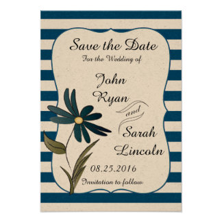 Wedding Save the Date Blue Striped Flower Card