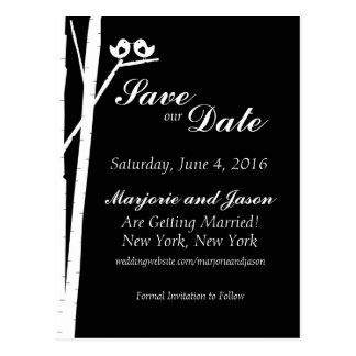 Wedding Save the Date Card Birch Tree Birds Black Postcard