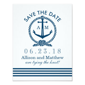 Wedding Save The Date Card | Navy Nautical Stripes 11 Cm X 14 Cm Invitation Card