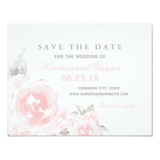 Wedding Save the Date Card   Pink Watercolor Roses 11 Cm X 14 Cm Invitation Card
