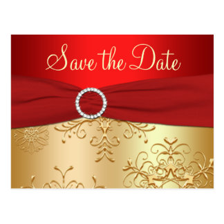 Wedding Save the Date Card | Red, Gold Snowflakes Postcard