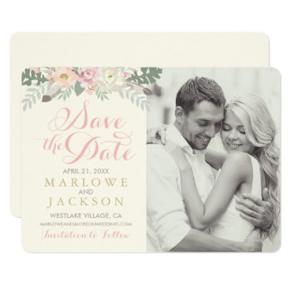 Wedding Save the Date Card   Spring Boho Florals