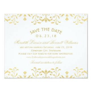 Wedding Save the Date Cards | Gold Vintage Glamour 11 Cm X 14 Cm Invitation Card