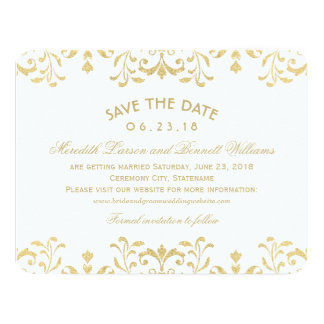 Wedding Save the Date Cards | Gold Vintage Glamour Announcement