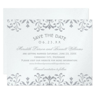 Wedding Save the Date Cards | Silver Vintage Glam 11 Cm X 14 Cm Invitation Card
