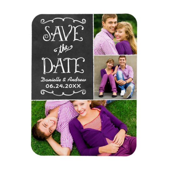 Wedding Save the Date   Chalkboard Collage Magnet