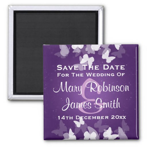 Wedding Save The Date Elusive Butterflies Purple Fridge Magnet