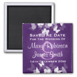 Wedding Save The Date Elusive Butterflies Purple Square Magnet
