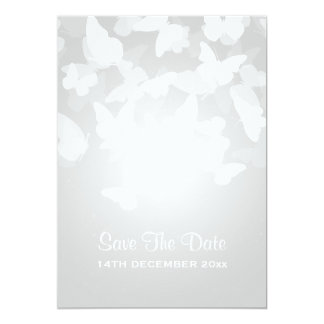 Wedding Save The Date Elusive Butterflies White Card