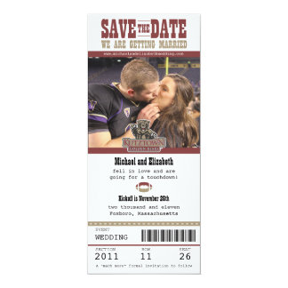 Wedding Save the Date Football Ticket 10 Cm X 24 Cm Invitation Card