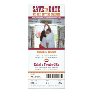 Wedding Save the Date Football Ticket Card