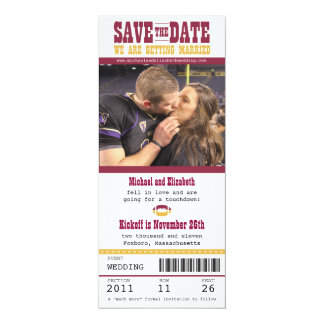 "Wedding Save the Date Football Ticket 4"" X 9.25"" Invitation Card"