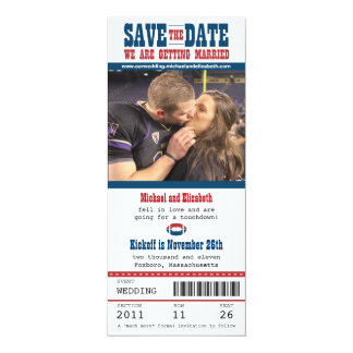 "Wedding Save the Date Football Ticket 4"" X 9.25"" Invitation Card"