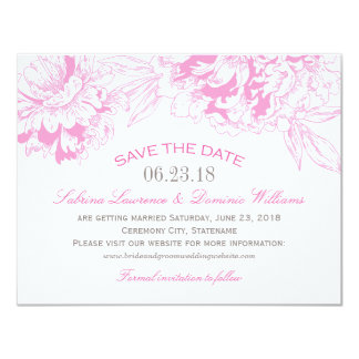 Wedding Save the Date | Fuchsi Floral Peony Design 11 Cm X 14 Cm Invitation Card