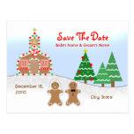 Wedding Save The Date - Gingerbread Church Scene Postcard