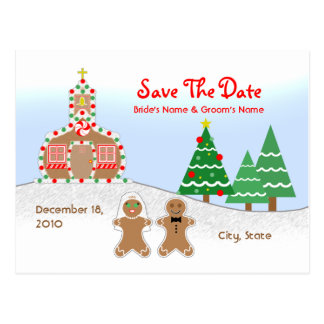 Wedding Save The Date - Gingerbread Church Scene Postcard