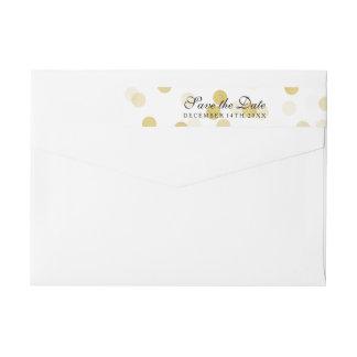 Wedding Save The Date Gold Foil Glitter Lights Wraparound Return Address Label