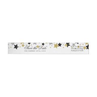 Wedding Save The Date Gold Glitter Stars Confetti Wrap Around Label