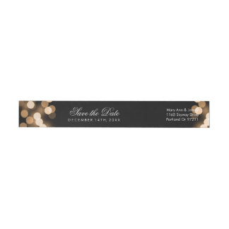 Wedding Save The Date Gold Hollywood Glam Wrap Around Label