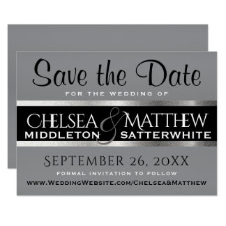 Wedding Save the Date Gray and Silver Card
