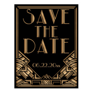 Wedding Save the Date in an Art Deco Gatsby Style Postcard