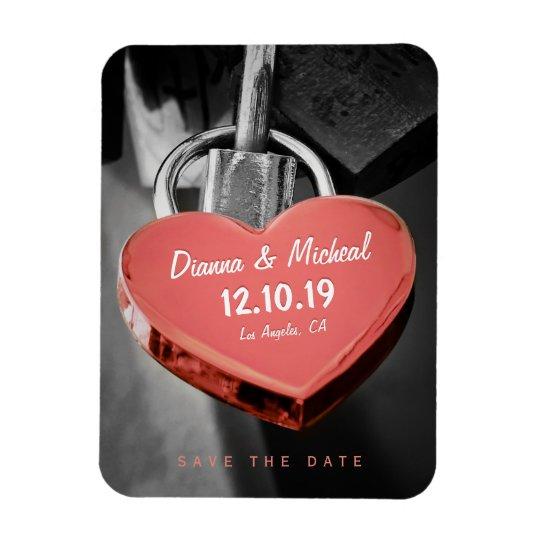 Wedding Save The Date Love Lock Fridge Magnet