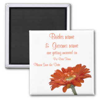 Wedding Save The Date Magnet  Orange Daisy Gerbera