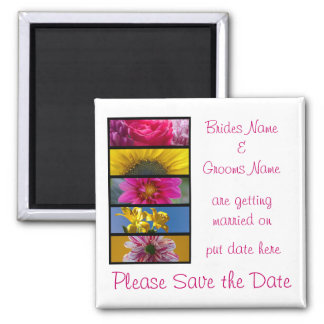 Wedding Save The Date Magnet - Pink & Yellow Macro