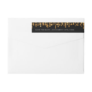 Wedding Save The Date Modern Gold Lights Wrap Around Label