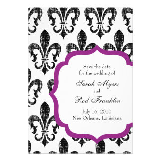 Wedding Save the Date New Orleans Fuschia Personalized Invites