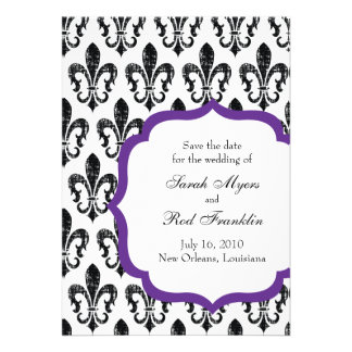 Wedding Save the Date New Orleans Purple Cards
