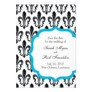 Wedding Save the Date New Orleans Turquoise Personalized Announcement
