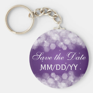 Wedding Save The Date Party Sparkle Purple Key Ring