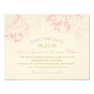 Wedding Save the Date | Pink Floral Peony Design 11 Cm X 14 Cm Invitation Card