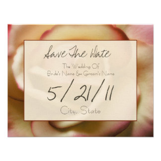 Wedding Save The Date - Pink & Yellow Rose Custom Announcements
