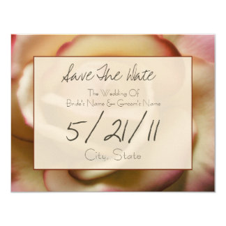 Wedding Save The Date - Pink & Yellow Rose 11 Cm X 14 Cm Invitation Card