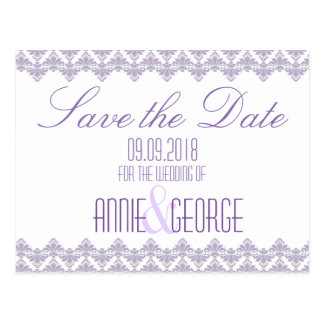 Wedding Save the Date Postcard Lilac Purp 2 Damask