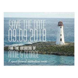 Wedding Save the Date Postcard New England Coastal