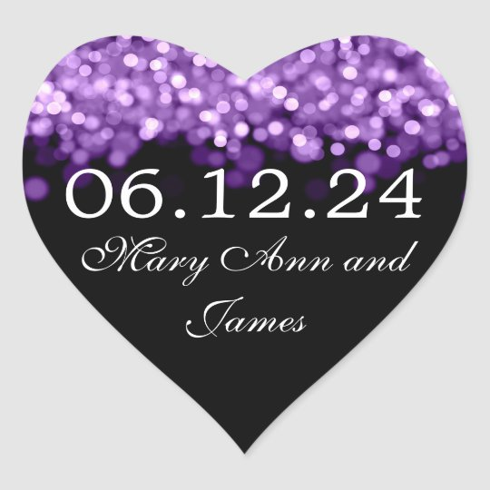 Wedding Save The Date Purple Lights Heart Sticker