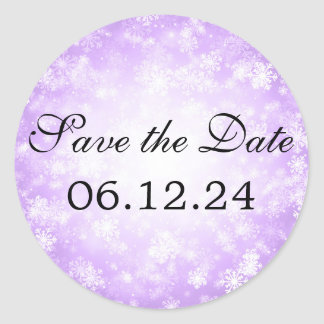 Wedding Save The Date Purple Winter Wonderland Classic Round Sticker
