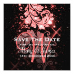 Wedding Save The Date Red Glitter Floral Swirl 13 Cm X 13 Cm Square Invitation Card