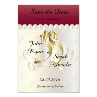 "Wedding Save the Date -Ruby Red Bell Theme 3.5"" X 5"" Invitation Card"