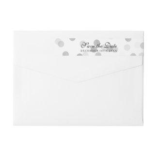 Wedding Save The Date Silver Foil Glitter Lights Wraparound Return Address Label