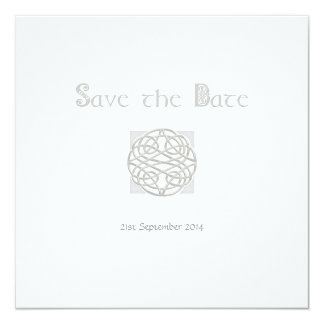 Wedding Save the Date Silver on White Celtic Knot Card