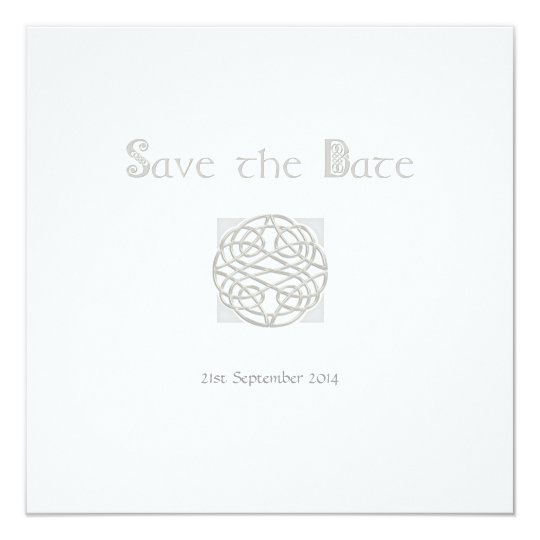 Wedding Save the Date Silver on White Celtic