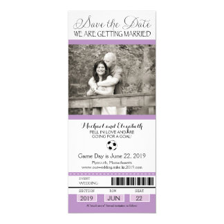 Wedding Save the Date Soccer Ticket Card