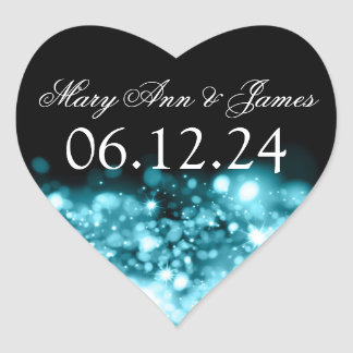 Wedding Save The Date Sparkling Lights Turquoise Heart Sticker