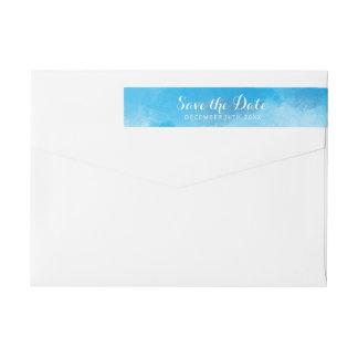 Wedding Save The Date Summer Blue Watercolor Wraparound Return Address Label