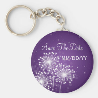 Wedding Save The Date Summer Sparkle Purple Key Ring